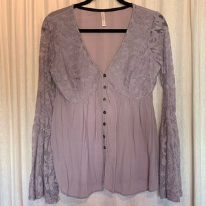 EUC Purple V-Neck Peasant Blouse